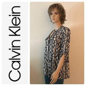 PLUS Calvin Klein Animal Print Black-White Top New